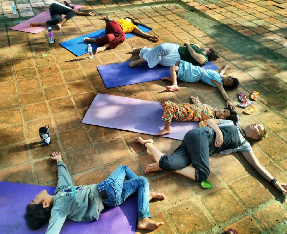 yoga class blue indigo retreat siem reap